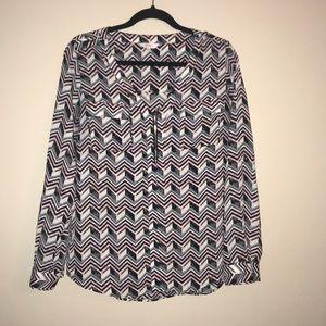 Candies zip up chevron dress shirt, size Large EUC